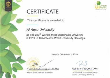 Al-Aqsa University succeeded to rank the 2nd most sustainable university in green environment in Pal
